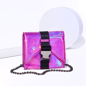 Safety First Holographic Pink Crossbody Bag